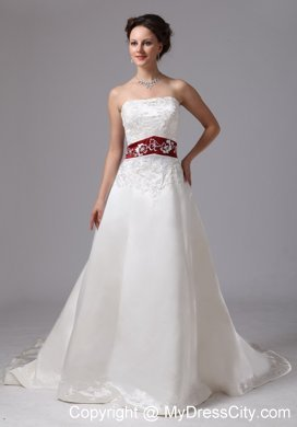 Strapless White Embroidery Chapel Train Wedding Dress With Wine Red Belt