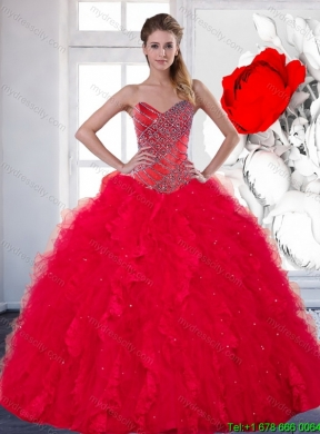 Multi Colored Ball Gown Cheap Red Quinceanera Dresses 2017 New Styles