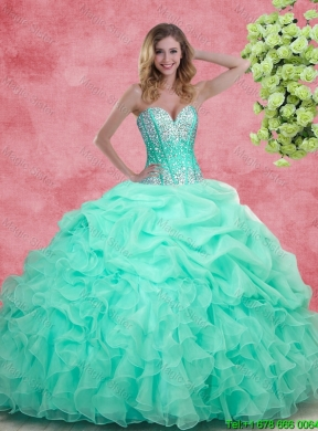 b4331757d12 2015 Elegant Summer Apple Green Quinceanera Dresses with Beading and Ruffles  ...