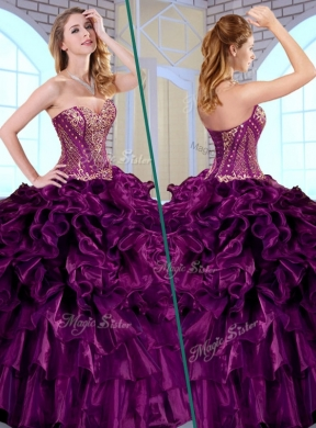 2e199fadd3f Gorgeous Ball Gown Sweetheart Ruffles and Appliques Quinceanera Gowns ...