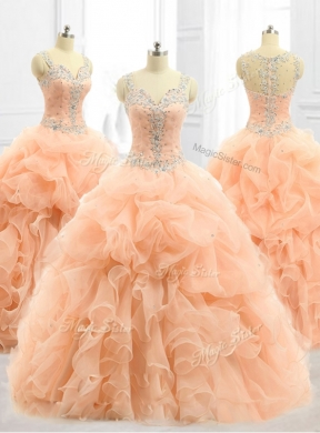 Custom Made Straps Beading And Ruffles Quinceanera Dresses In Peach