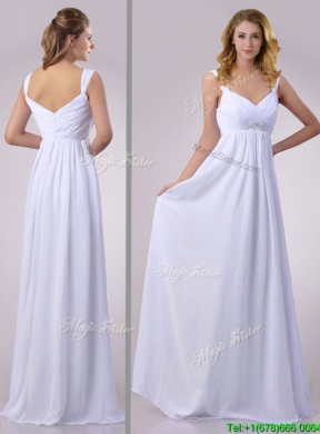 Hot Empire Beaded White Chiffon Bridesmaid Dress With Straps