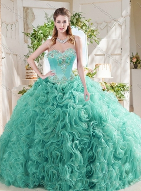 25efc39d54d Luxurious Rolling Flower Big Puffy Mint Quinceanera Dresses with Beading ...