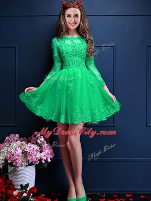 Hot Sale Scalloped 3 4 Length Sleeve Damas Dress Mini Length Beading and  Lace and Appliques Apple Green Chiffon ... 3ce6bf3bf