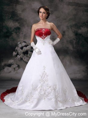 A Line Strapless Embroidery White And Wine Red Wedding Dress