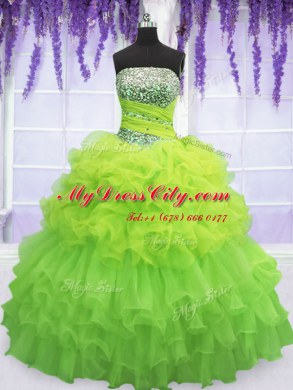 43709e6c5a Colorful Pick Ups Ruffled Floor Length Ball Gowns Sleeveless Sweet 16  Dresses Lace Up ...