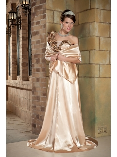 Champagne Flower One Shoulder Leopard Prom Pageant Dress ...