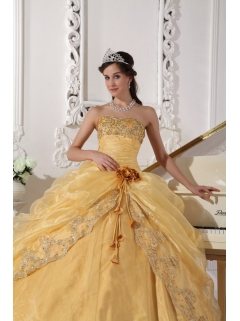 0e94d9c9cda Gold Ball Gown Strapless Floor-length Organza Embroidery with Beading Quinceanera  Dress
