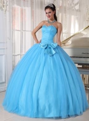 Aqua Blue Ball Gown Sweetheart Floor-length Tulle Beading and ...