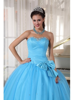 1d0d9f4d004 Aqua Blue Ball Gown Sweetheart Floor-length Tulle Beading and Bowknot Quinceanera  Dress