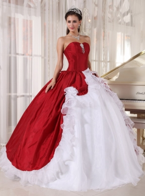 and White Ball Gown Sweetheart Floor-length Organza and Taffeta ...