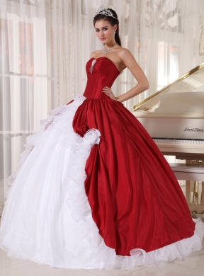 9e702fb9ef Red and White Ball Gown Sweetheart Floor-length Organza and Taffeta Beading  Quinceanera Dress