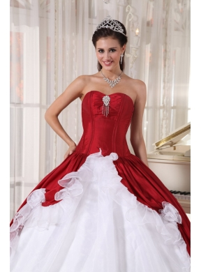 1a86a76d4a8 Red and White Ball Gown Sweetheart Floor-length Organza and Taffeta Beading  Quinceanera Dress