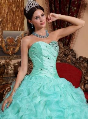9fe5481c4cf Apple Green Ball Gown Sweetheart Floor-length Organza Beading and Ruffles  Quinceanera Dress