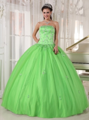 fddfac76154 Spring Green Ball Gown Strapless Floor-length Taffeta and Tulle Appliques Quinceanera  Dress