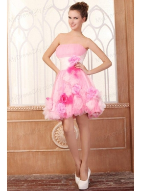 Strapless Short Hand Made Flowers Mini Length Pink Prom