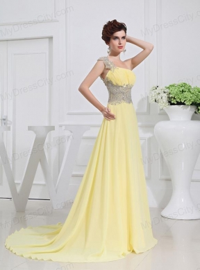Empire Court Train Yellow Beading One Shoulder Prom Dress ...