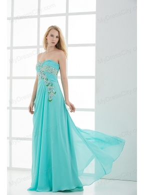 Column Sweetheart Floor-length Applique Aqua Blue Prom Dress ...