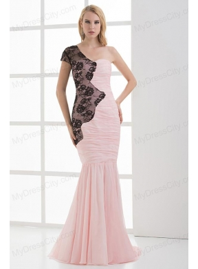 Mermaid Sweetheart Ruching Chiffon Lace Light Pink Prom Dress ...