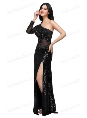 c2318ed98f59 Column Black One Shoulder Long Sleeves Sequins High Slit Prom Dress