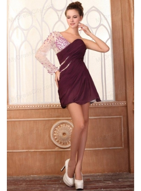 Column One Shoulder with Beadings Chiffon Prom Dress