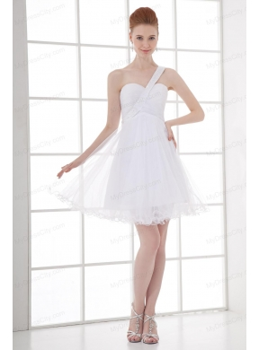 2014 simple a line one shoulder tulle ruching beading short wedding 2014 simple a line one shoulder tulle ruching beading short wedding dress junglespirit Choice Image