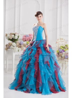 8666a0ca959 Ball Gown Strapless Organza Beading Ruffles Multi-color Quinceanera Dress