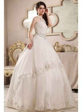 ball gown halter top neck embroidery and beading wedding