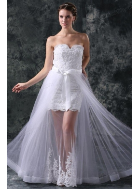 Column sweetheart appliques tulle detachable skirt wedding for Removable tulle skirt wedding dress