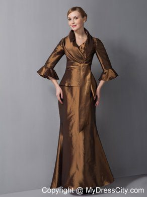 V-neck Ankle-length Brown Mother Of The Bride Dress with Beading ...