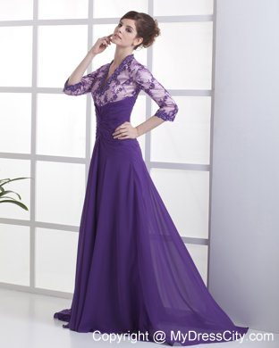 70b59bc436e 3 4 Sleeves Lace with Beading V-neck Purple Mother Bride Guests Dress