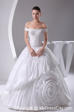 2013 Beaded Off The Shoulder A-Line Pick-up Flowers Wedding Gowns