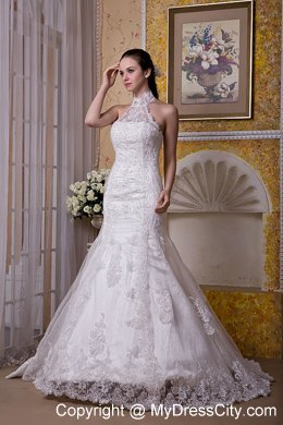 Upscale Mermaid Halter Top Taffeta And Lace Brush Train Wedding Dress