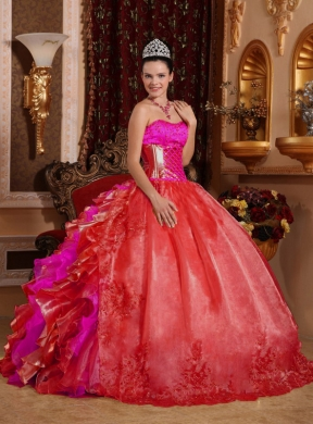 Ball Gown Ruffles and Beading Embroidery Red Best Quinceanera Dresses