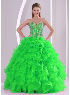Ball Gown Sweetheart Ruffles and Beading Organza Cheap Quinceanera Dresses