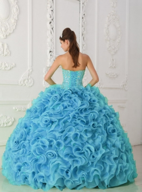 cdeccefe85f Organza Ball Gown Strapless Beading Blue Pretty Quinceanera Dresses with  Ruffles