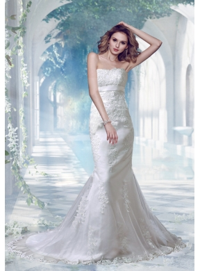 2014 sexy mermaid strapless appliques lace wedding dresses