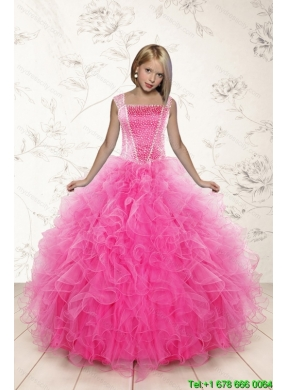 2015 Most Popular Beading And Ruffles Little Girl Pageant