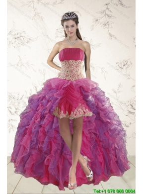 2015 Classical High Low Prom Dresses with Appliques and Ruffles