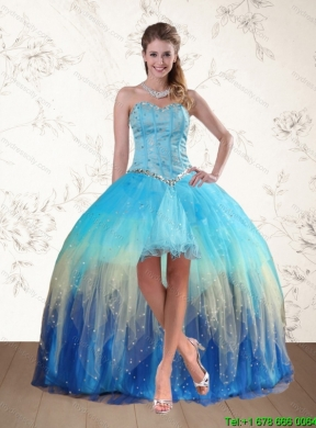 2015 Baby Blue Sweetheart Multi Color Prom Dresses With