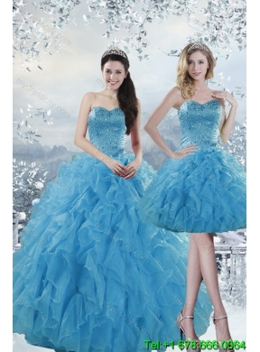 2b84f3df1dc 2015 Unique Fashionable Baby Blue Dresses for Quince with Beading and  Ruffles