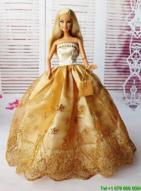 021e1243e10 Lovely Ball Gown Handmade Gold Appliques Barbie Doll Dress