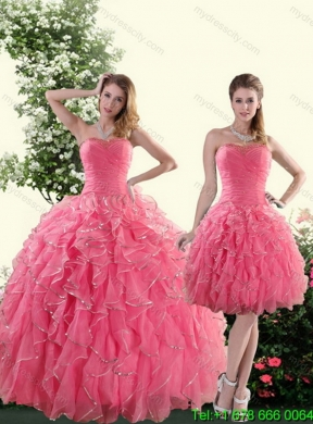 Detachable Strapless Paillette Quinceanera Skirts In Rose