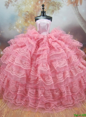Exclusive Lace Decorate Ball Gown Pink Barbie Doll Dress ...