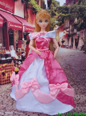 f769a332279 Lovely Bowknot Red and White Off The Shoulder Dress Gown For Barbie Doll