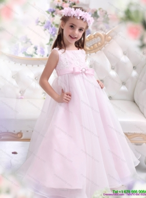 Latest scoop appliques and bownot flower girl dresses in baby pink mightylinksfo