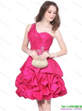 Perfect One Shoulder Beading Prom Dress with Pick Ups