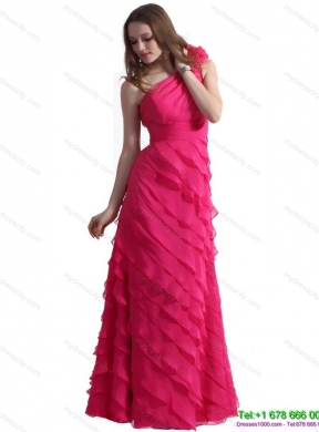 Designer One Shoulder Prom Dresses with Ruffled Layers and Hand Made Flower
