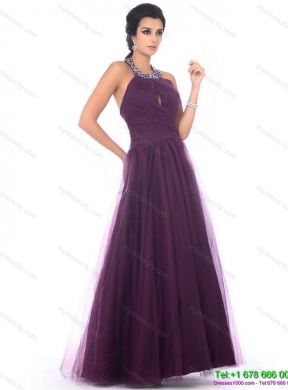 Gorgeous 2015 Halter Top Prom Dress with Ruching and Beading