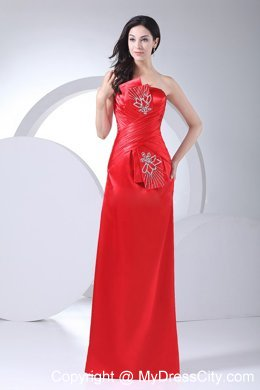 2014 Floor-length Red Homecoming Dress Beading Decorate